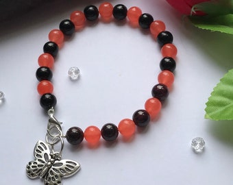 Jade Bracelet, Stackabke Bracelet , Orange Bracelet, Orange Stone Bracelet, Butterfly Bracelet, Healing Stone Bracelet,