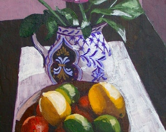 Fine Art Still Life Print, Fruit Bowl Print, Floral Print, Rose, Citrus