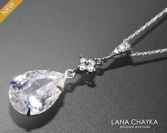 Clear Cubic Zirconia Necklace Crystal Sterling Silver Bridal Necklace Teardrop CZ Wedding Necklace Bridal Cz Jewelry Cubic Zirconia Pendant