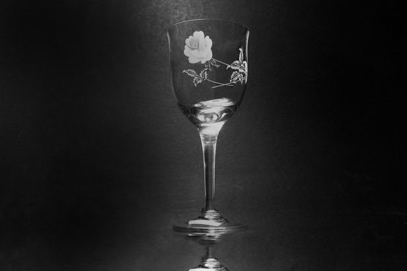 Noritake Crystal Wine Glass, Virtue, Etched, Rose Pattern, Wine Glass, Barware, Stemware, Original Paper Sticker