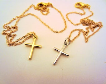 Cross necklace. Set of 2. Friendship necklaces. Best friend gift. Silver, gold. Simple cross. Mother, daughter gift. Christian jewelry.