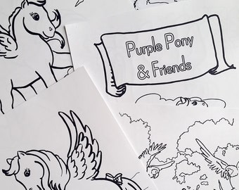 Colouring Book, Ponies Unicorns & Pegasus Fantasy - Digital Download PDF, Pony Cartoon Coloring Book, Printable Coloring Pages