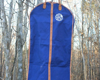 Monogrammed Mens Custom Garment Bag Navy