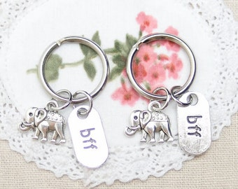 2 little elephant keychains keyrings, sterling silver filled, bff, best friend forever, Best Friend gift, mother daughter, lucky charm, gift