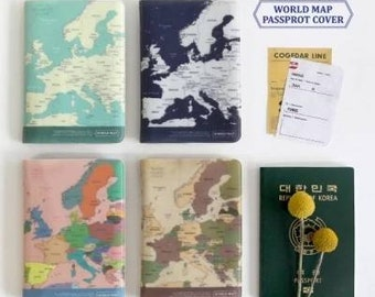 JParadise - World Map Passport Cover/ Passport Holder/ Passport Case/ Travel Wallet/ Travel Gift (4 Styles)
