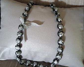 Kukui Nut Lei Silver/Black