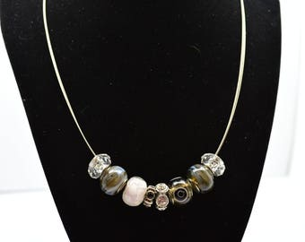 Neutral Tone Beaded Necklace