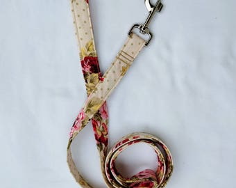 Chic Floral and Polka Dots-Traffic Leash-Dog Leash- Cottage Rose-Shabby Chic Floral 3, 4, 5, 6 Foot Leash