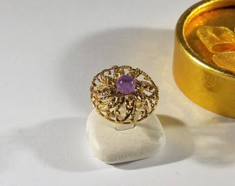 Children ring silver 835 gold plated Amethyst vintage SR1057