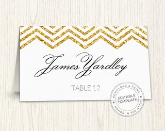 Editable wedding place cards, gold chevron, printable seating cards, escort cards template, guest names, DIGITAL download PDF format