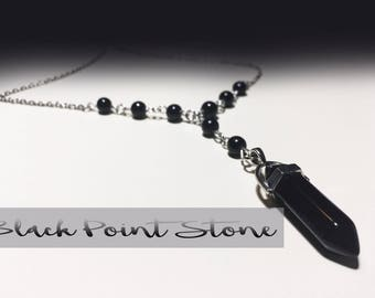 Black Point Stone and Silver Lariat Necklace