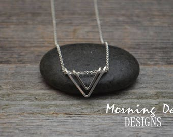 Sterling Silver Double Triangle Necklace - Modern - Simple - Sleek