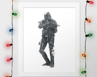 DEATHTROOPER PRINT, Star Wars Rogue One, Star Wars, Deathtrooper, Star Wars Rogue One Print, Star Wars Watercolor, Rogue One, Digital Print