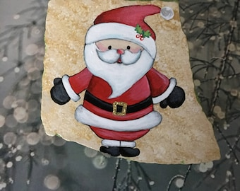 Santa Claus Hand Painted Rock- Red Santa Suit, Gold Buckle, with a Blush in his Cheeks - Clear Stand Included