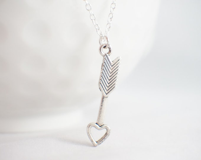 Arrow Necklace - Follow your arrow - arrow pendant - arrow heart - arrow jewelry - true north jewelry
