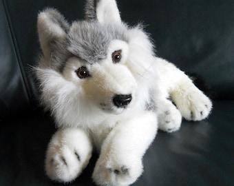 Fluffy Wolf Stuffed Animal, Lobo, Stuffed Wolf, Plush Toy, Fur Wolf, Wolverine Stuffed Toy, white Wolf, Endangered, Plush Wolf