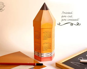 Printed 2018 DIY Pencil Calendar & Box | Paper Desk Calender Papercraft | Yellow Realistic | Pre-cut creased Kit | Kid School Editor Writer