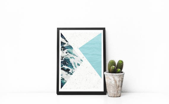 small print  abstract ocean // 5x7, Scandinavian Design, minimalist art print, abstract art, pink and green, 90s style