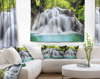 Designart Rushing Huai Mae Kamin Waterfall Landscape Photography Wall Tapestry, Wall Art Fit for Wall Hanging, Dorm, Home Decor