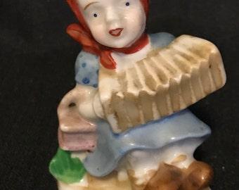 "Vintage Figurine Occupied Japan Girl with Accordion Figurine  ""SALE"""