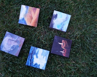 Five elements of nature multi panel oil painting on canvas