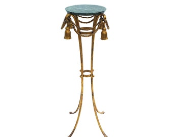 Italian Gilt Metal Tassel & Marble Pedestal