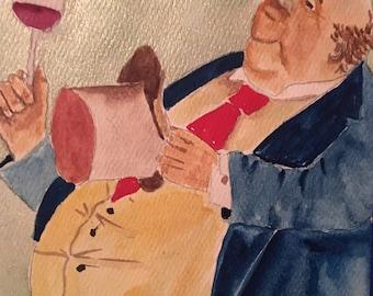 Humorous Art Bar Sign Top Hat Men Original Watercolor Painting Man Drinking Red Wine Office Decor Kitchen Art Funny Humorous Artwork