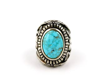 Black Mountain Ring w/ Natural Kingman Turquoise by Turquoise Kingdom