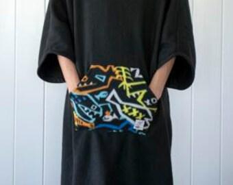 Black Solid with Skeleton Fish Print Detail On Pocket/Hood