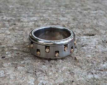 Mens Unique Ring, Men's Diamond Spinner Ring, Mixed Metal Jewelry, Stainless Steel 18k Gold Kinetic Jewelry, Gear Ring, Fidget Ring Spin