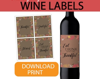 Thanksgiving wine label, thanksgiving decor, thanksgiving wine, thanksgiving table decor, thanksgiving hostess gift THANKSGIVING, fall