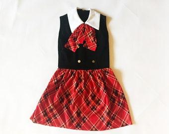 Vintage des années 60 marin Mod Plaid Bow Mini robe