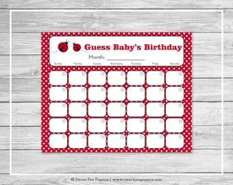 Ladybug Baby Shower Guess Baby's Birthday - Printable Baby Shower Guess Baby's Birthday - Ladybug Baby Shower - Birthday Calendar - SP140