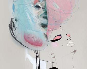 "fashion illustration,Giclée print of acrylic painting, girl, cream, pink,blue makeup high fashion ""Floss"""