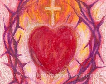 Catholic Art Gift  Sacred Heart of Jesus Fine Art Print Wedding Gift