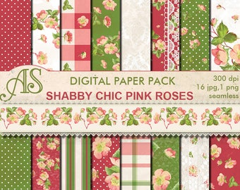 Digital Shabby Chic Pink Roses Seamless Paper Pack, 16 printable Digital Scrapbooking papers, 1 border, retro, Instant Download, set 188