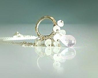 Rose Quartz Necklace, Sterling Silver Necklace, Brazilian Rose Quartz Cluster Necklace