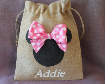 Large Minnie Burlap bag with bow and Personalizaton