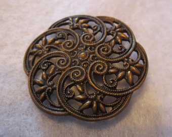 Antique Large Vintage Brass Metal Buttons with Fine Filigree Pierced Openwork