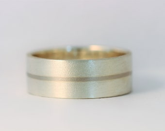 "Palladium inlaid ""its a fine line""  mans wedding band in sterling silver ,matt exterior."