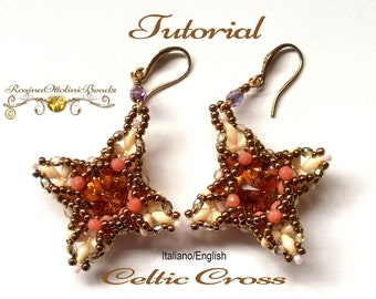 Celtic Cross Earrings or Pendant  ( PDF Beading tutorial color graphics pictures in Italian or in English)
