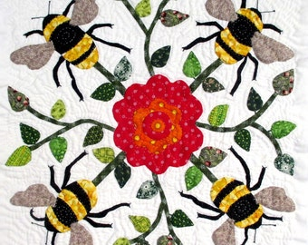Bee Quilt Block Pattern for Nature's Bounty Quilt