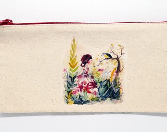 Watercolor illustration canvas pencil pouch - girl talking to bird