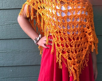 Poncho, orange Accessories, beach outfit , bikini cover, gift for Mom , gift for teen, summer wraps , fall wraps, chic crochet poncho, beach