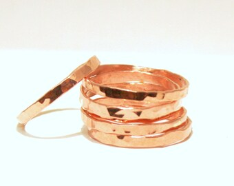 Thin Copper Stacking Rings, Copper Band, Pure Copper Stackable Ring, Hammered Copper Ring set