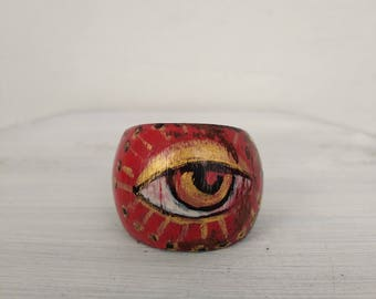 Third eye ring, wooden ring, bizarre ring, hand painted ring.