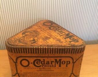 Vintage Triangular O'Cedar Mop Wax Tin