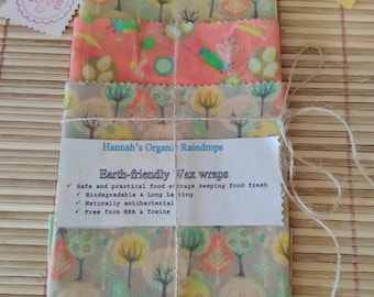 A beeswax wrap - a reusable, eco-friendly plastic alternative foodwrap - pack of 3