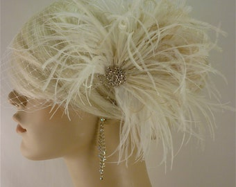 Bridal Fascinator, Feather Fascinator, Ivory Fascinator, Wedding Fascinator, Ivory Hair Clip, Fascinator, 1920s Headpiece, Roaring 20s