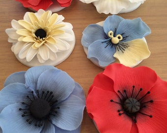 Edible Icing Flower Cake Toppers